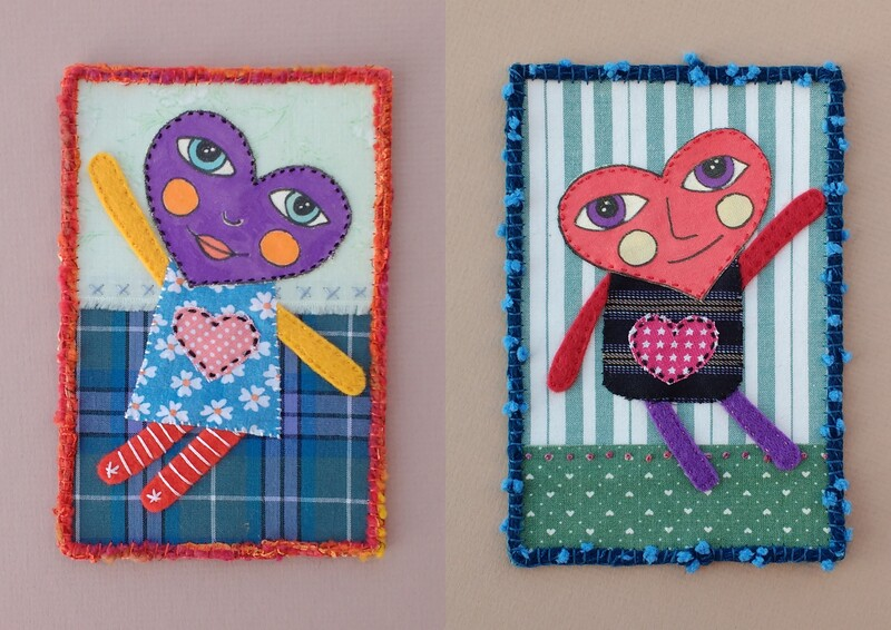 A boy and girl with hearts for heads make the subject of these textile art postcards. They are made using mixed media and applique.